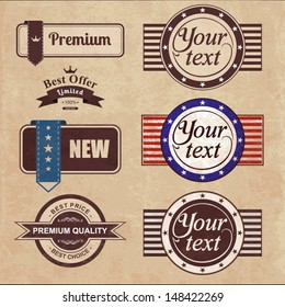 Vintage labels and ribbon. Vector retro style set