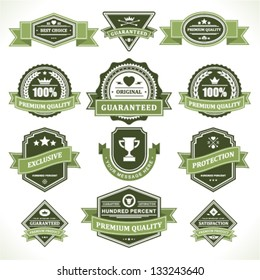Vintage labels and ribbons set. Vector design elements.