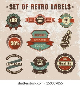 Vintage labels and ribbons. Vector retro style set