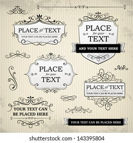 Vintage labels and scroll elements on textured paper background. Each in separately folder isolated from background.