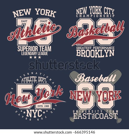 aac8386e0 Vintage labels set, athletic sport typography for t shirt print. Varsity  style. T-shirt graphic. Vector - Vector