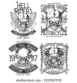 Vintage labels set. Hand drawn illustrations with lettering composition. Logotypes set. Black and white illustrations.