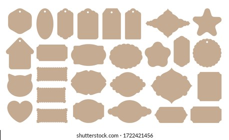 Vintage labels shape templates. Big set of tags stencils for plotter or paper cut. Craft cardboard color. Retro gift card for cutting. Nameplate creative shapes. Craft art scrapbook collection.