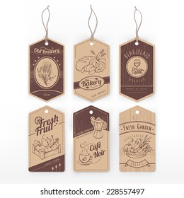 Vintage labels with stripe with assorted hand drawn food items.