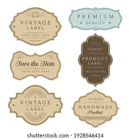 Vintage labels and tag frames set. Ornamental traditional labels for wedding card, handmade or organic product packaging, premium quality, save the date.
