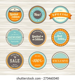 Vintage labels template set: best seller, new, limited edition, exclusive, sale, royal quality, best choice. Retro badges for your design on wooden background. Vector illustration