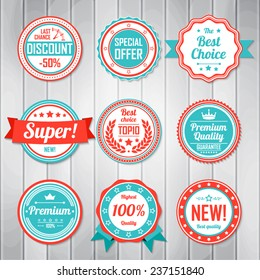Vintage Labels template set. Retro badges for your design. Vector illustration.