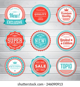 Vintage Labels template set. Retro badges for your design on wooden background. Vector illustration.