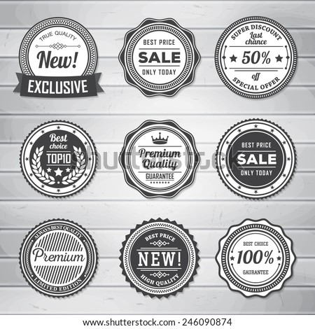 Vintage labels template set retro badges stock vector royalty free vintage labels template set retro badges for your design on wooden background vector illustration maxwellsz