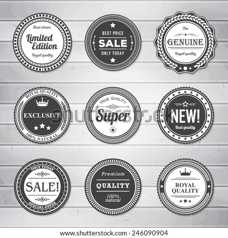 vintage labels template set retro badges for your design on wooden background vector illustration