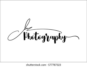 Vintage labels with word photography written in calligraphic styles. Photography logo idea.