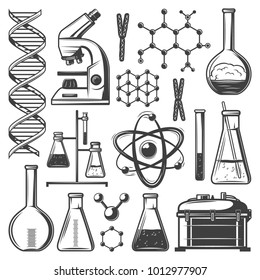 Vintage laboratory research elements set with flasks tubes microscope dna molecular structure cells kit of instruments isolated vector illustration