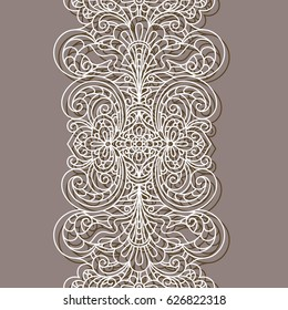 Vintage lace border pattern, linear ornament, cutout paper decoration for greeting card or wedding invitation design