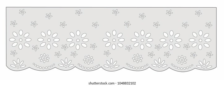 vintage lace cotton vector Decorative ornament for border of fabric   Stylized texture of embroidery, imitation satin stitch. Vector pattern for printing on fabric, clothes, hem of dress, cuff, collar