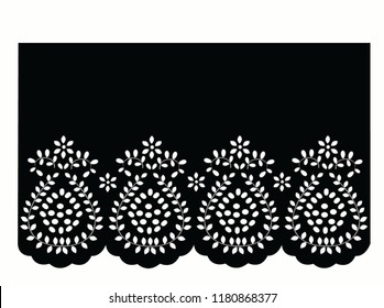 vintage lace cotton vector Decorative ornament for border of fabric   Stylized texture of embroidery, imitation satin stitch. Vector pattern for printing on fabric, clothes, hem of dress, collar