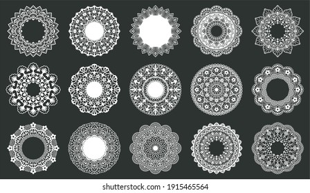 Vintage lace doily. Round napkins, ornate circle lace doily wedding table decoration. Decorative lace round frames vector illustration set. Ornate lace round, floral circle wedding ornamental