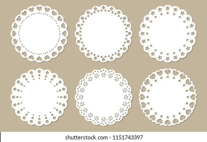 Vintage Lace Doily Set, Place Mat, Paper Cutout, Vector Design