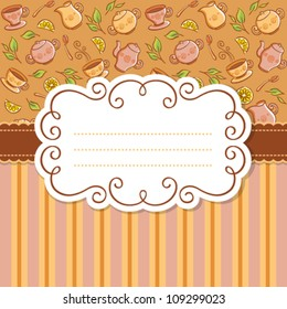 Vintage lace frame for invitation or greeting card. Colorful backgrounds with tea things
