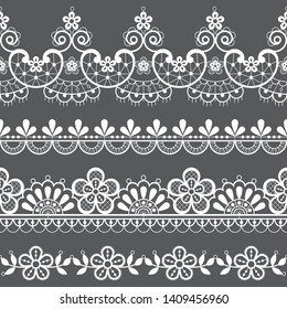 Vintage lace seamless vector pattern, ornamental repetitive design with flowers and swirls in white on gray background. Beautiful laces frame, retro textile decoration with repetitive graphics