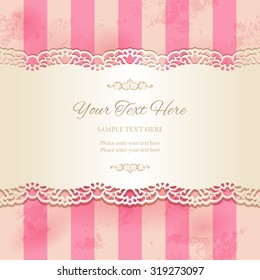 Vintage lacy ornamental ribbon on striped pink background. Tape with cutout borders on old stained paper texture. Vector illustration EPS10