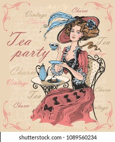 Vintage lady in a hat drinking tea. Lady in crinoline. Tea party. Charm. Vintage. Inscriptions.  Time to drink tea. Vector