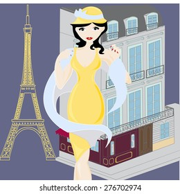 vintage lady in Paris
