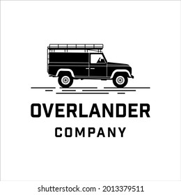 Vintage land rover defender car with simple style design