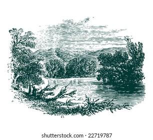 Vintage landscape with lake. Vector.