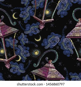 Vintage lantern, moon and night sky seamless pattern. Embroidery. Good night, dreams concept. Street light art. Fashion fantasy template for clothes, tapestry, t-shirt design
