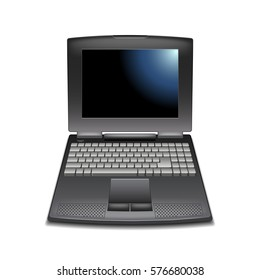 Vintage laptop isolated on white photo-realistic vector illustration