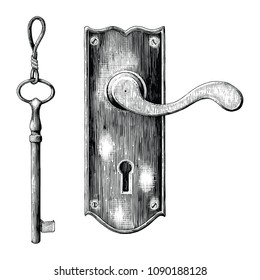 Vintage latch and key hand drawing engraving style