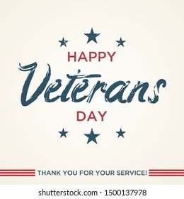 Vintage latter Happy Veterans day concept background. Illustration of Happy Veterans day vector concept background for web design. Vector illustration