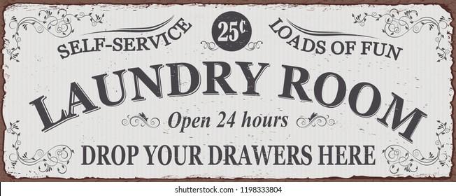 Vintage Laundry metal sign.