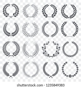 Vintage laurel wreath set. Circular wreath collection isolated on transparent background. Symbol of victory, award, luxury, anniversary. Decoration elements for your design. Vector illustration.