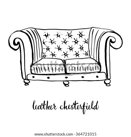 Vintage Leather Chesterfield Vintage Furniture Interior Stock Vector