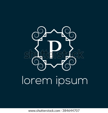 Vintage Letter P Vector Logo Template Stock Vector (Royalty Free