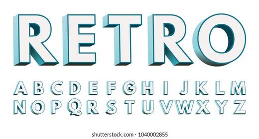 Vintage letters of alphabet for font. Retro type font, vintage 3D typography. Lightbox letter.