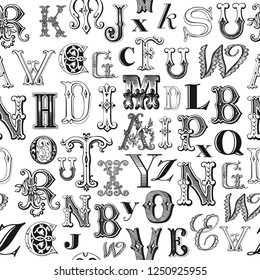 Vintage letters seamless background