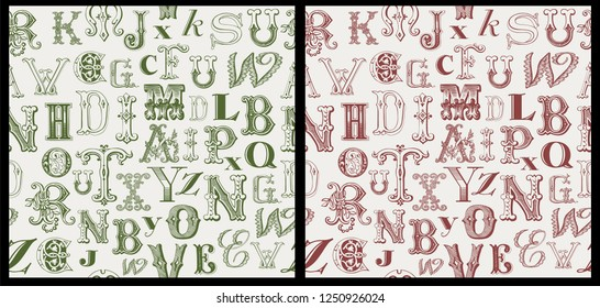 vintage letters seamless pattern