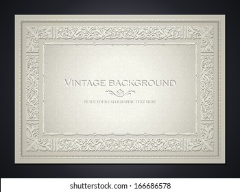 Vintage light background, antique style frame, Victorian ornament, beautiful brochure, certificate, award's and diploma's layout, book cover, floral luxury ornamental pattern, achievement template