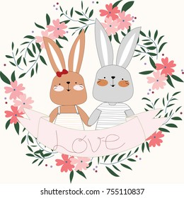 Vintage Light blue and pink wild flower and leaf pattern and rabbit bunny couple in botanical  tropical woodland style,for invitation wedding or valentine card background illustration vector