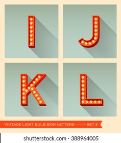 Vintage light bulb sign letters i, j, k, l