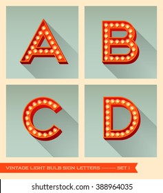 Vintage light bulb sign letters a, b, c, d.