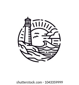 Vintage Lighthouse Searchlight Beacon on Coastal Beach logo design