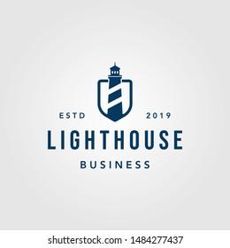 vintage lighthouse shield logo design illustration