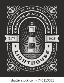 Vintage Lighthouse Typography On Black Background. T-shirt and label graphics in woodcut style. Editable vector illustration.