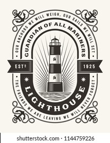 Vintage Lighthouse Typography (One Color). T-shirt and label graphics in woodcut style. Editable EPS10 vector illustration.