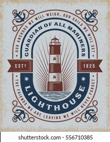 Vintage Lighthouse Typography. T-shirt and label graphics in woodcut style. Editable EPS10 vector illustration.