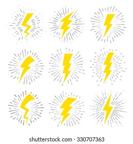 Vintage Lightning Bolt Signs. Template for t-shirt, cover, pack, poster or your art works.
