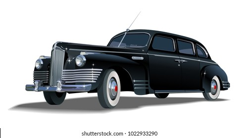 Vintage limo. Available EPS-10 vector format separated by groups and layers for easy edit